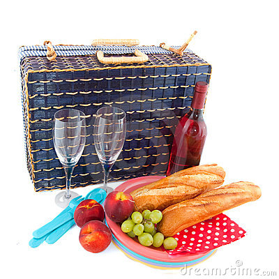 Picnic with blue basket