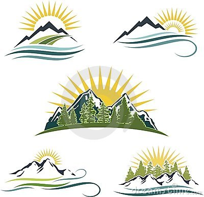 Mountain sunrise, nature icon set