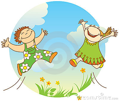 Smiling jumping children