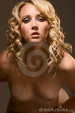 Naked topless young blond Caucasian woman