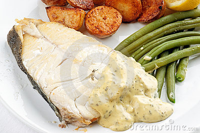 Fresh Halibut steak meal