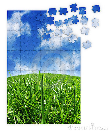 Blue & green grass puzzle