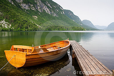 boat berth by the tranquil lake pier with mountain