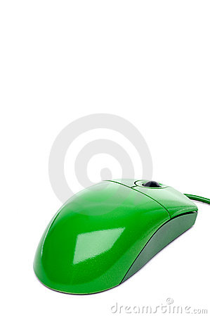 A green computer mouse on white