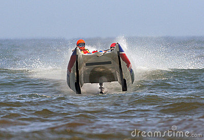 Powerboat racing on ocean