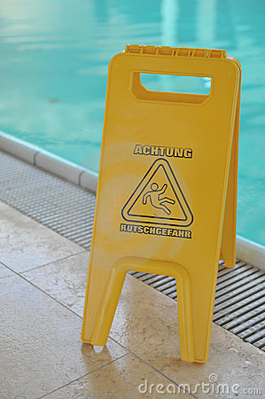 Poolside caution sign