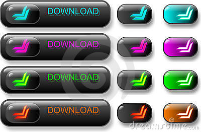 Set of dark download buttons