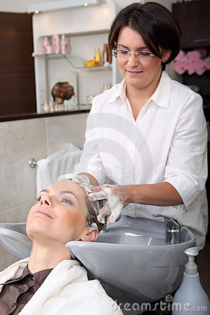 Washing hair in hair salon