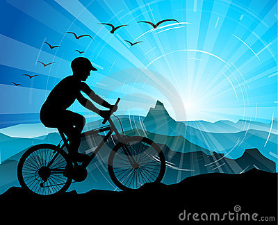 Biker Silhouette  with mountains
