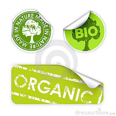 Set of labels with stamps for organic