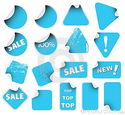 Set of blue labels badges and stickers
