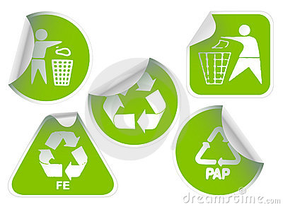 Set of green recycle labels badges and stickers