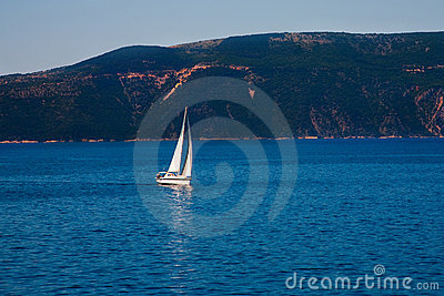 Yacht sailing in ocean