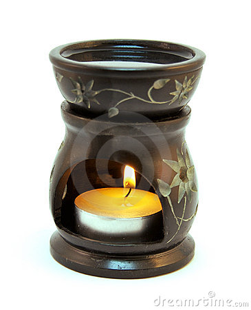 Oil Burner with scented oil isolated