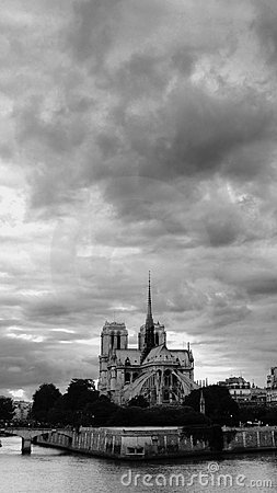 Clouds over the Notre Dame de Paris cathedral