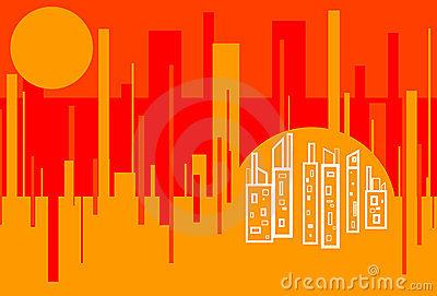 Red Hot Cityscape Abstract Background