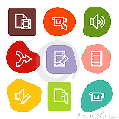 Audio video edit web icons, colour spots series