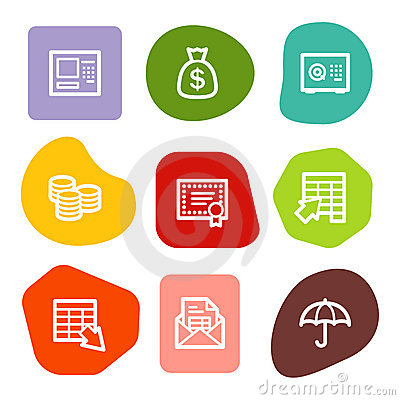 Banking web icons, colour spots series