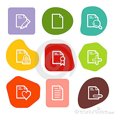 Document web icons set 2, colour spots series