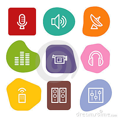 Media web icons, colour spots series