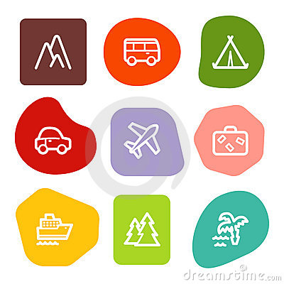 Travel web icons, colour spots series