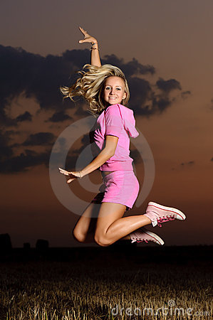 Girl outdoor jumping