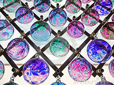 Colored glass balls in window