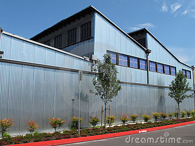 Modern industrial building with steel exterior