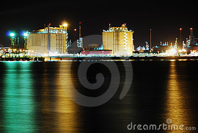 Factory big refinery in night