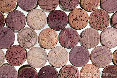 Wine corks on white background