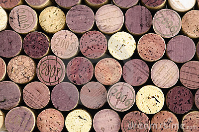 Wine corks on black background