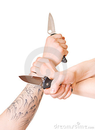 Hands with knife