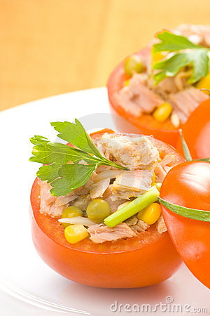 Tuna stuffed tomato celery corn soya bean