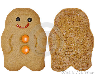 Gingerbread Man cookie, two sides