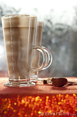 Cafe coffee latte in red glitter