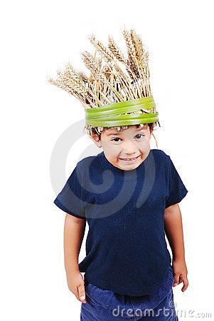 A little cute kid with wheat hat