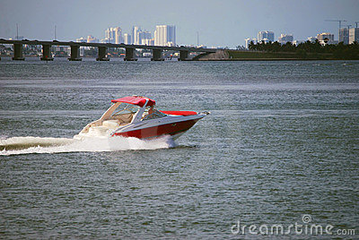 Red Motorboat With White Trim
