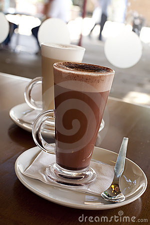 Hot chocolate in a tall class with Cafe Latte