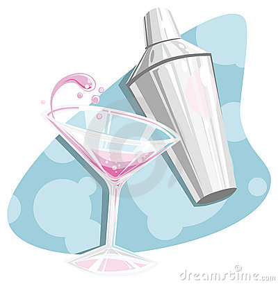 Retro martini and shaker