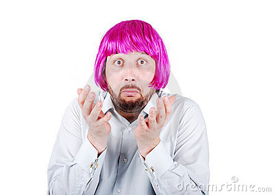 Young man with beard and pink hair