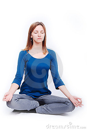 Relaxed girl isolated