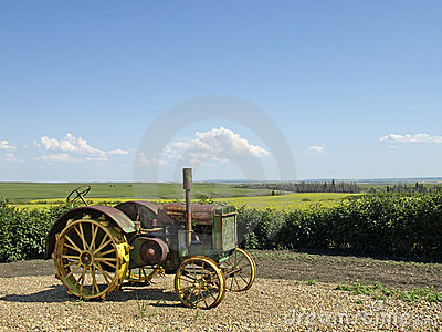 Antique tractor with view.