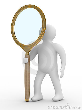 Man with magnifier on white background
