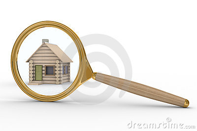 House and magnifier on white background