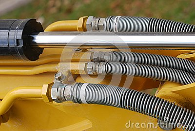 Some industrial hydraulics shaft and fluid hoses