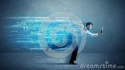 Business man running with device and data concept