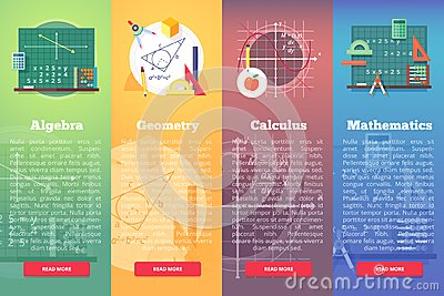 Mathematics banners. Flat vector education concept of math, algebra, calculus.
