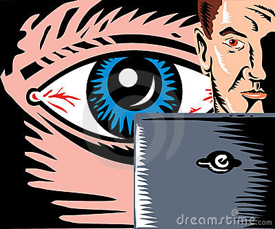 Eye watching man with computer