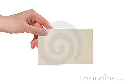 Hand holding a paper card