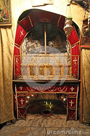 A silver star marks the traditional site of the birth of Jesus in Church of the Nativity, Bethlehem